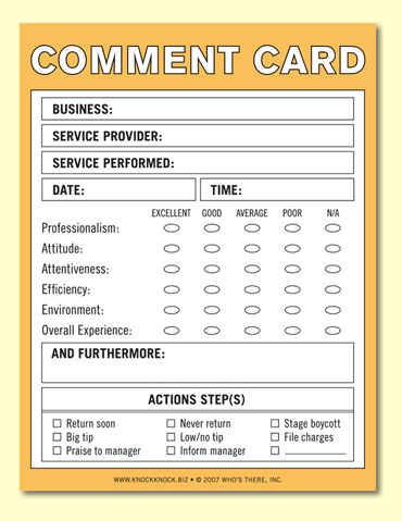 Restaurant Survey Card  CityEsporaCo